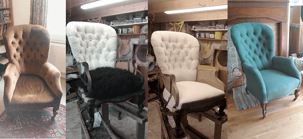 Chair renovation stages by The Chair Sanctuary